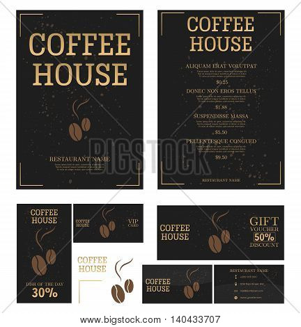 Coffee House Menu template. Business card,flyer, vip card and gift voucher. Vector design.