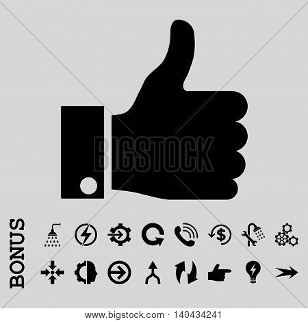 Thumb Up glyph icon. Image style is a flat iconic symbol, black color, light gray background.
