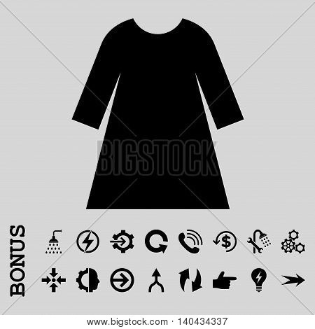 Woman Dress glyph icon. Image style is a flat pictogram symbol, black color, light gray background.