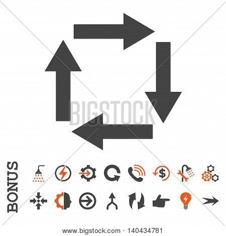 Circulation Arrows glyph bicolor icon. Image style is a flat iconic symbol, orange and gray colors, white background.