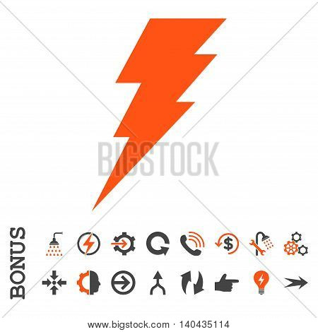 Execute glyph bicolor icon. Image style is a flat pictogram symbol, orange and gray colors, white background.