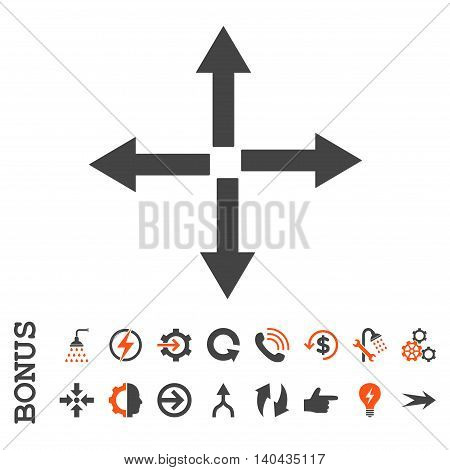 Expand Arrows glyph bicolor icon. Image style is a flat iconic symbol, orange and gray colors, white background.
