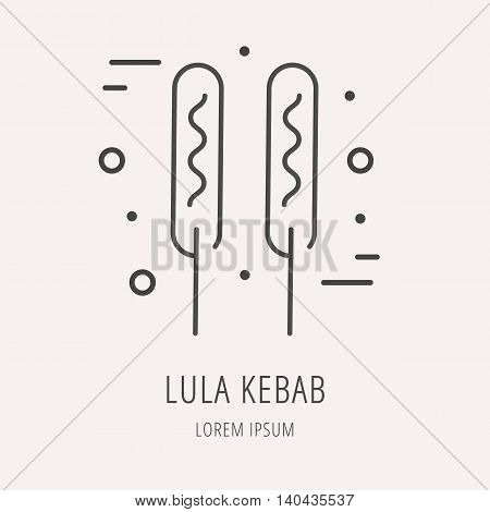 logo or label meal. Line style logotype template with lula kebab. Easy to use business template. Vector abstract logo or emblem.