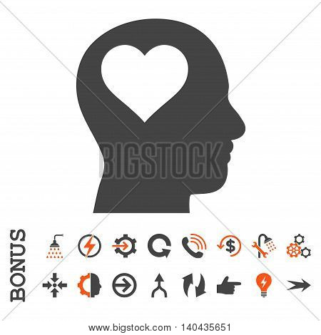 Lover Head glyph bicolor icon. Image style is a flat pictogram symbol, orange and gray colors, white background.