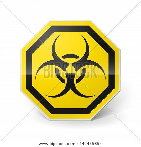 Shiny metal biohazard sign in black and yellow colors on white background