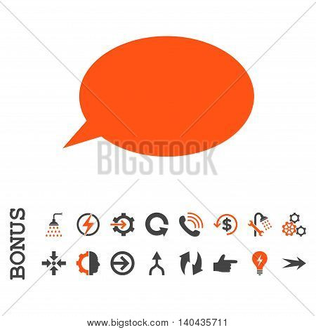 Message Cloud glyph bicolor icon. Image style is a flat iconic symbol, orange and gray colors, white background.