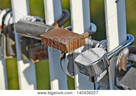 Lock On Bridge Railing