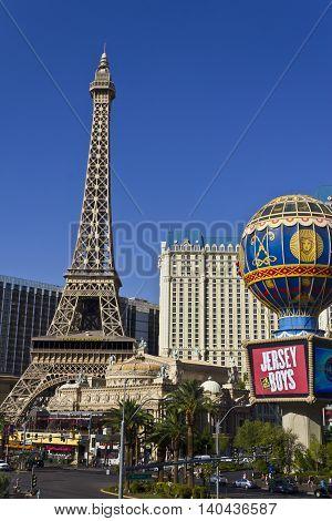 Las Vegas - Circa July 2016: Exterior of the Paris Las Vegas. With a Half-Size Eiffel Tower the Paris is Part of Caesars Entertainment Corp III