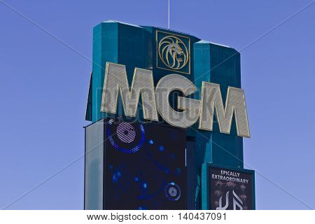 Las Vegas - Circa July 2016: Signage of the MGM Grand Hotel. This Property is a Subsidiary of MGM Resorts International I