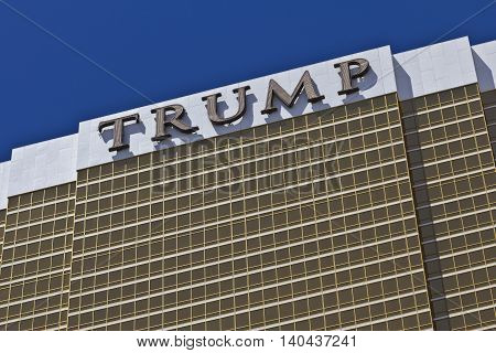 Las Vegas - Circa July 2016: Trump Hotel Las Vegas. Named for real estate developer Donald Trump the exterior windows are gilded with 24-karat gold I
