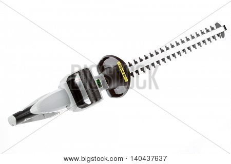 New cordless hedge trimmer isolated on plain background