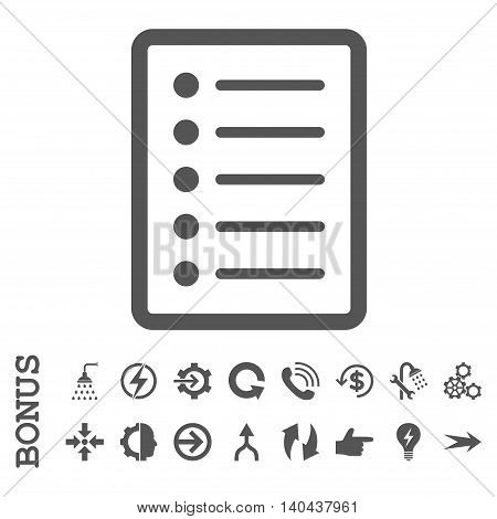 List Page glyph icon. Image style is a flat iconic symbol, gray color, white background.