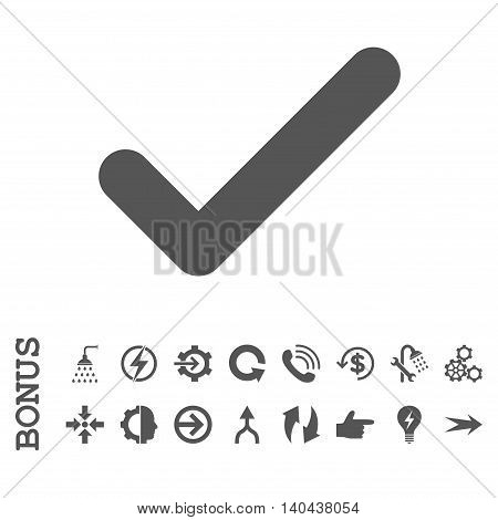 Ok glyph icon. Image style is a flat pictogram symbol, gray color, white background.