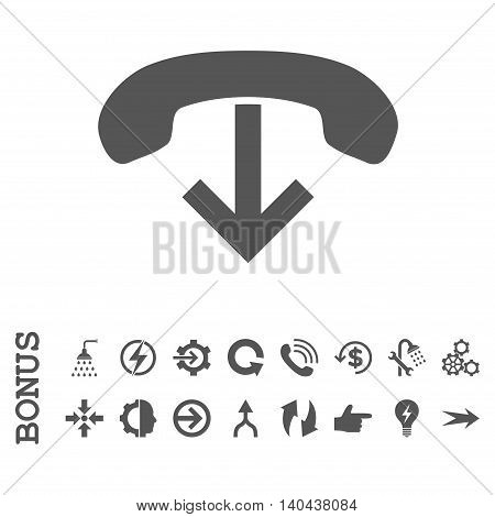 Phone Hang Up glyph icon. Image style is a flat pictogram symbol, gray color, white background.