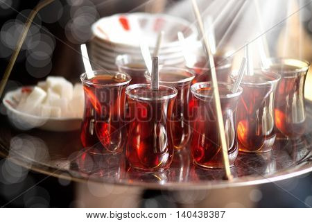 Close up shot of full tea tray in istanbul.