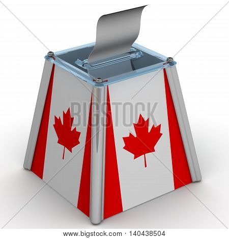Ballot box to vote with the flag of Canada and ballot sheet is on the white surface. Isolated. 3D Illustration