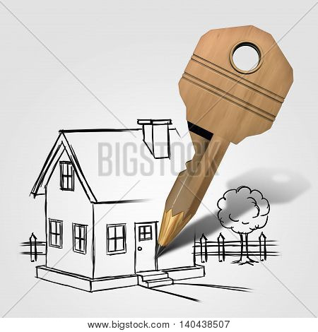 House key drawing and planning a family home solution concept as a pencil shaped lock object sketching a dream residence as an architecture and construction or renovation symbol with 3D ilustration elements.