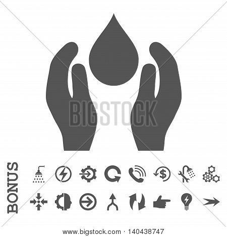 Water Care glyph icon. Image style is a flat iconic symbol, gray color, white background.
