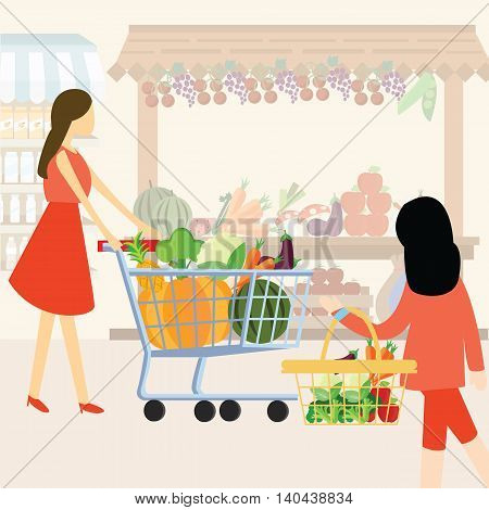woman girl mom shopping using cart buy vegetable at supermarket healthy ingredients vector