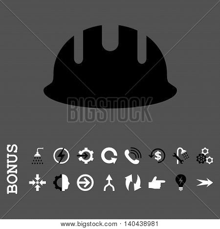 Builder Hardhat vector bicolor icon. Image style is a flat iconic symbol, black and white colors, gray background.