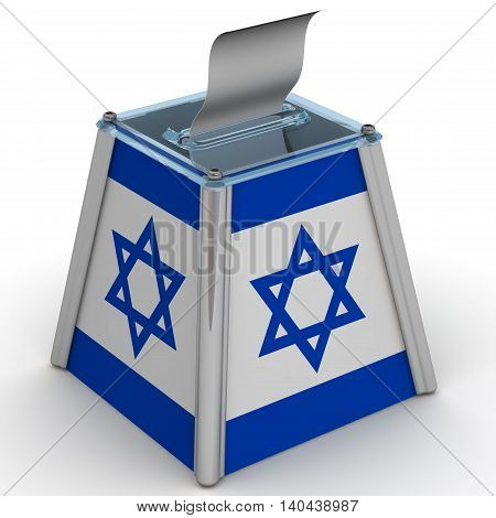 Ballot box to vote with the flag of Israel and ballot sheet is on the white surface. Isolated. 3D Illustration