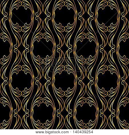 Golden floral ornament in classic style on black background