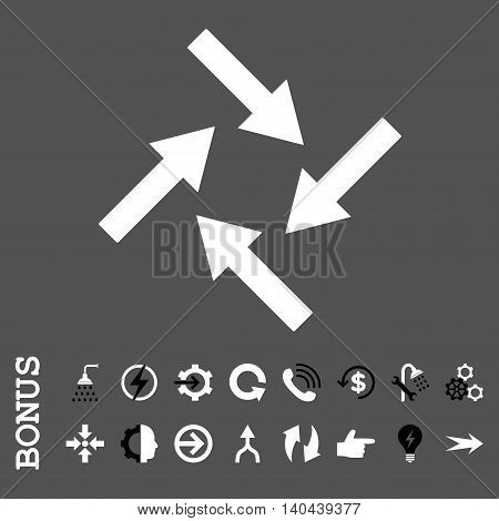 Centripetal Arrows vector bicolor icon. Image style is a flat pictogram symbol, black and white colors, gray background.