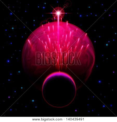 Space background. Big red planet and small one with star shower and bright flare