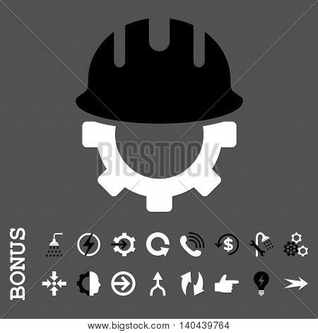 Development Hardhat vector bicolor icon. Image style is a flat iconic symbol, black and white colors, gray background.