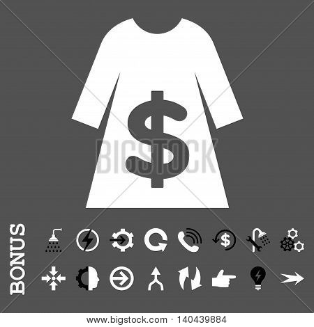 Dress Sale vector bicolor icon. Image style is a flat iconic symbol, black and white colors, gray background.