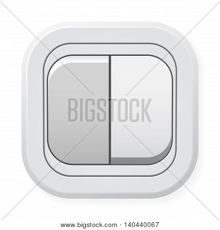 White plastic switch with right button pushed isolated on white background