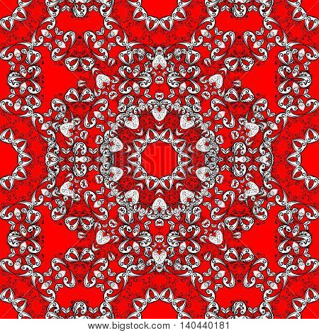 White lace texture on red background repeating crochet lace ornament seamless vector lace pattern