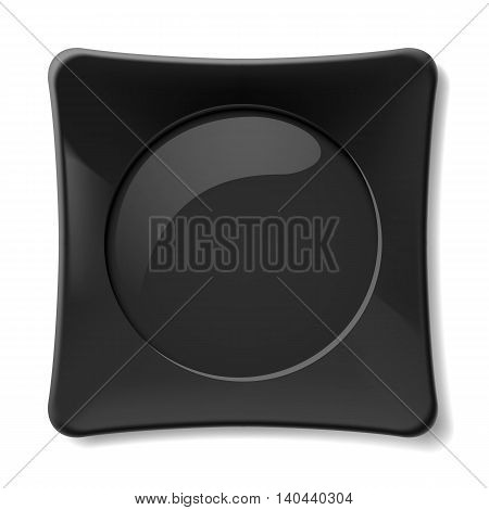Empty black dish isolated on white background
