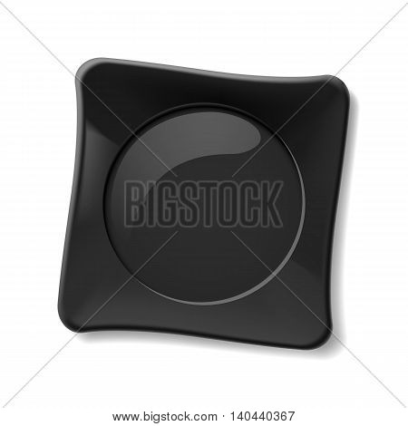 Illustration of empty black dish on white background