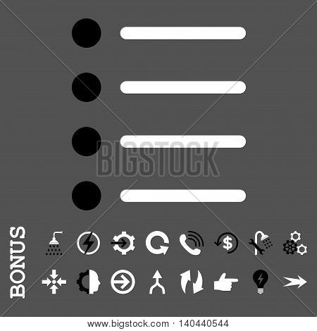 Items vector bicolor icon. Image style is a flat pictogram symbol, black and white colors, gray background.