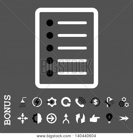 List Page vector bicolor icon. Image style is a flat pictogram symbol, black and white colors, gray background.