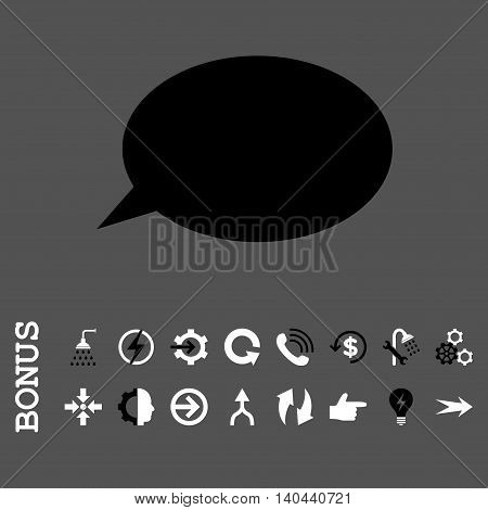 Message Cloud vector bicolor icon. Image style is a flat pictogram symbol, black and white colors, gray background.