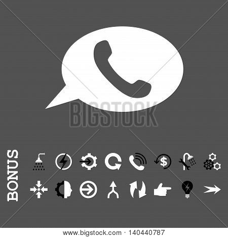 Phone Message vector bicolor icon. Image style is a flat iconic symbol, black and white colors, gray background.