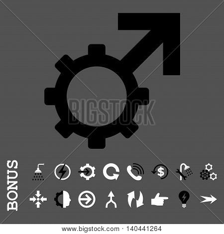 Technological Potence vector bicolor icon. Image style is a flat iconic symbol, black and white colors, gray background.