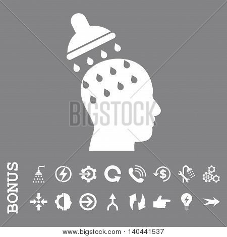 Brain Washing vector icon. Image style is a flat iconic symbol, white color, gray background.