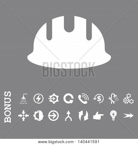 Builder Hardhat vector icon. Image style is a flat iconic symbol, white color, gray background.
