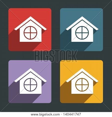 Vector color home icon in black background