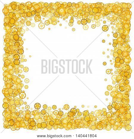 Card with many gears. Gold border. Shimmer. Golden frame of gears. Confetti. Technological frame. Mechanical design. Yellow cogs.