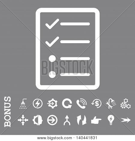 Checklist Page vector icon. Image style is a flat pictogram symbol, white color, gray background.