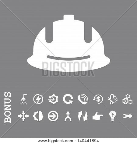 Construction Helmet vector icon. Image style is a flat pictogram symbol, white color, gray background.