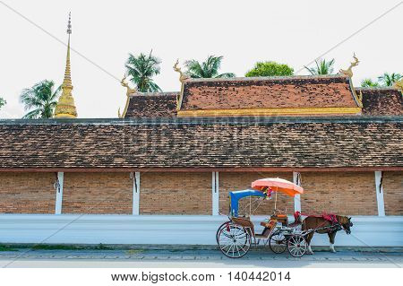 Traditional Horse Carriage Ride In Wat Phra That Lampang Luang ,lampang Province, Thailand