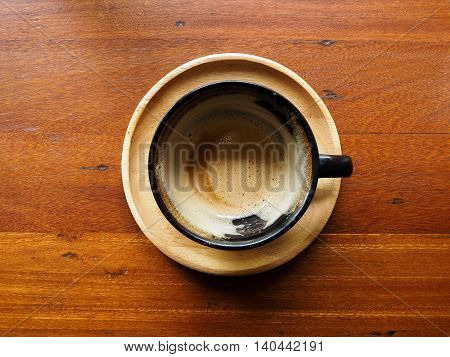 Coffee finished. black cup of coffee on wood table.