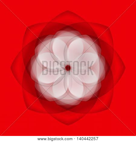 Abstract white flower with transparent elements on red background
