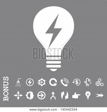 Electric Bulb vector icon. Image style is a flat iconic symbol, white color, gray background.