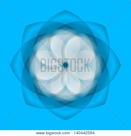Illustration of abstract white flower with transparent elements over blue